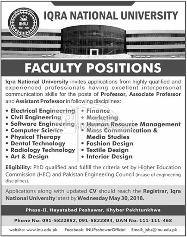 Iqra National University Peshawar Jobs 2018
