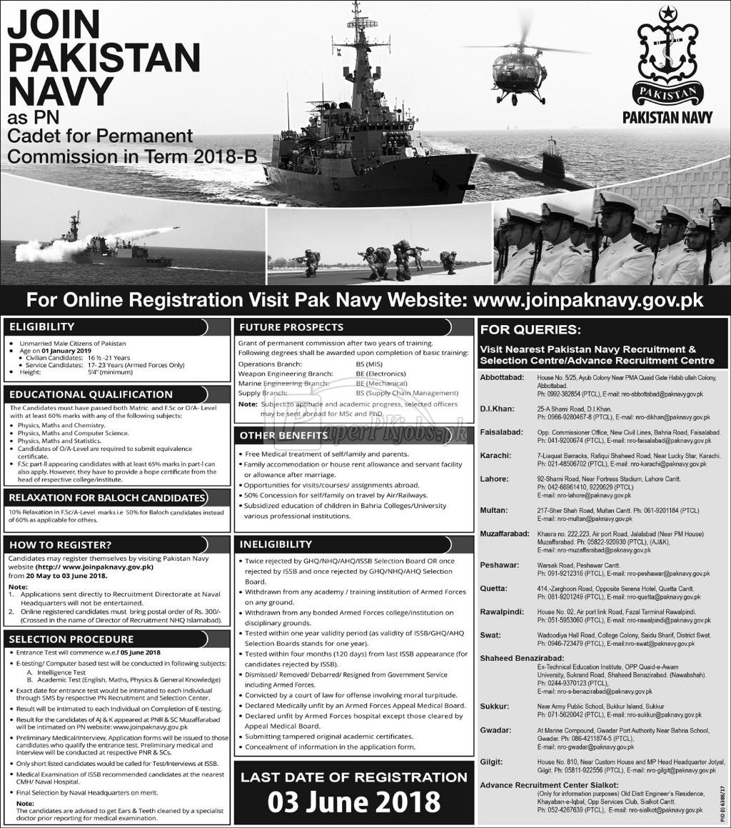 Join Pakistan Navy as PN Cadet 2018