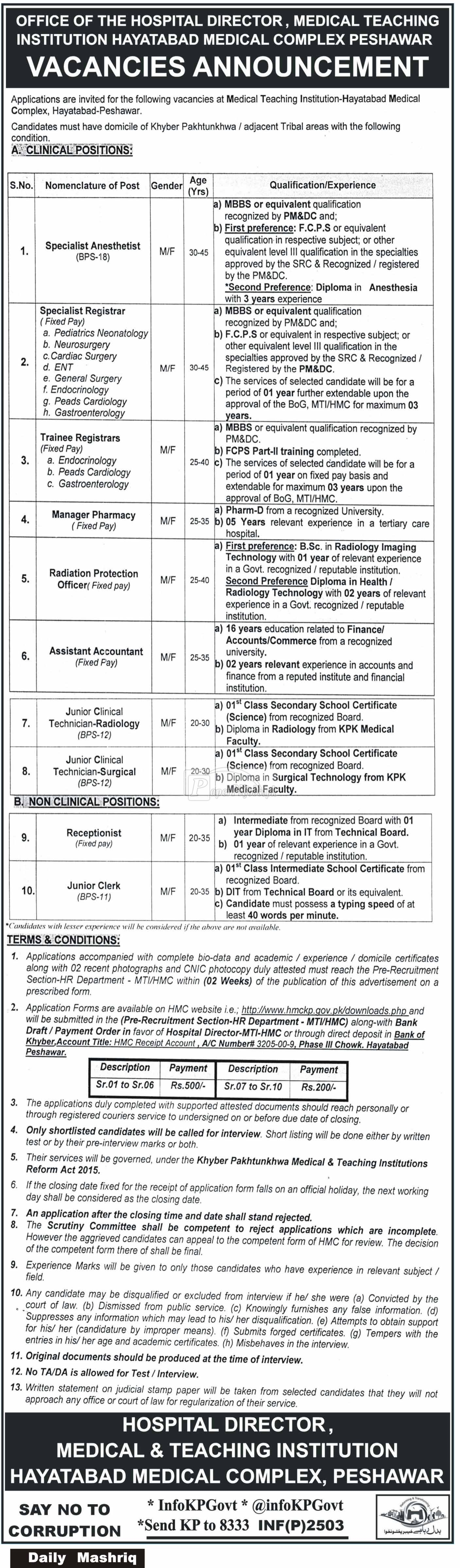 Medical Teaching Institution Hayatabad Peshawar Jobs 2018