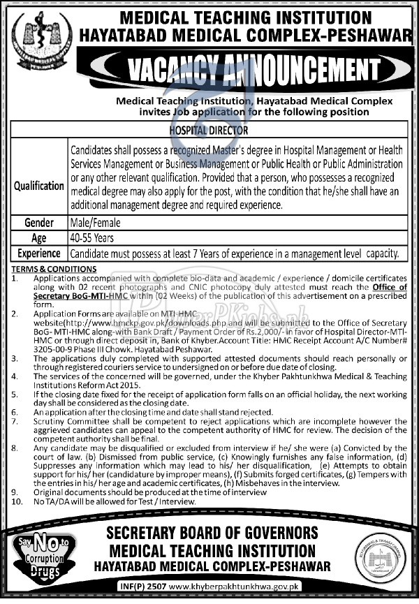 Medical Teaching Institution Peshawar Jobs 2018
