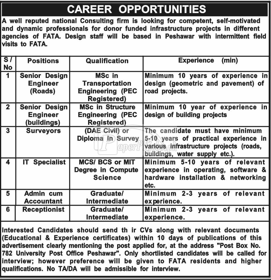National Consulting Firm P.O.Box 782 Peshawar Jobs 2018