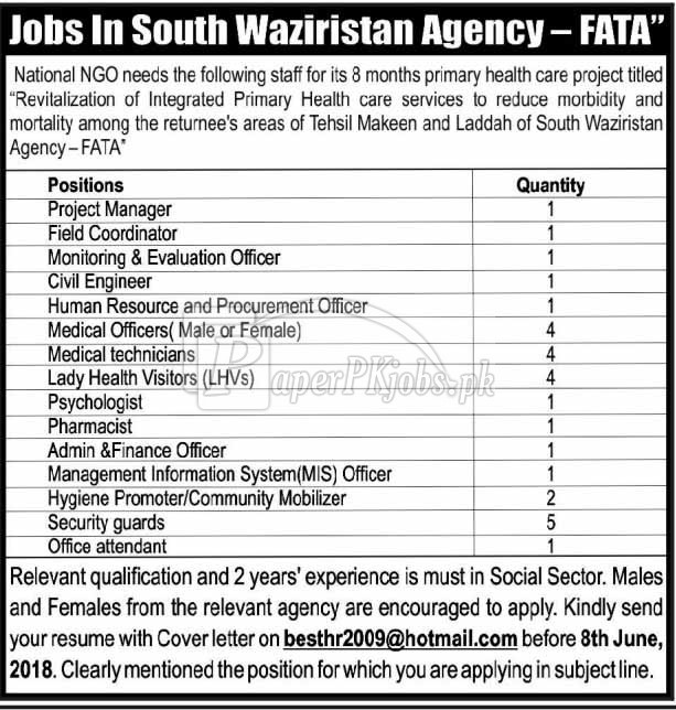 National NGO FATA Jobs 2018