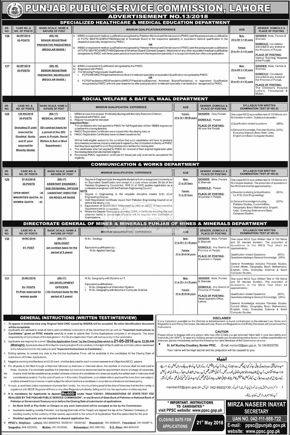 PPSC Jobs 6 May 2018(1)