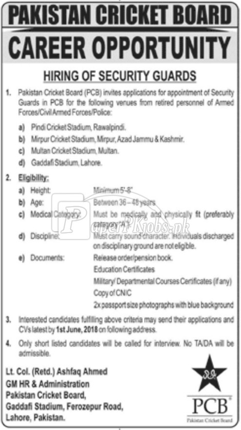 Pakistan Cricket Board PCB Jobs 2018