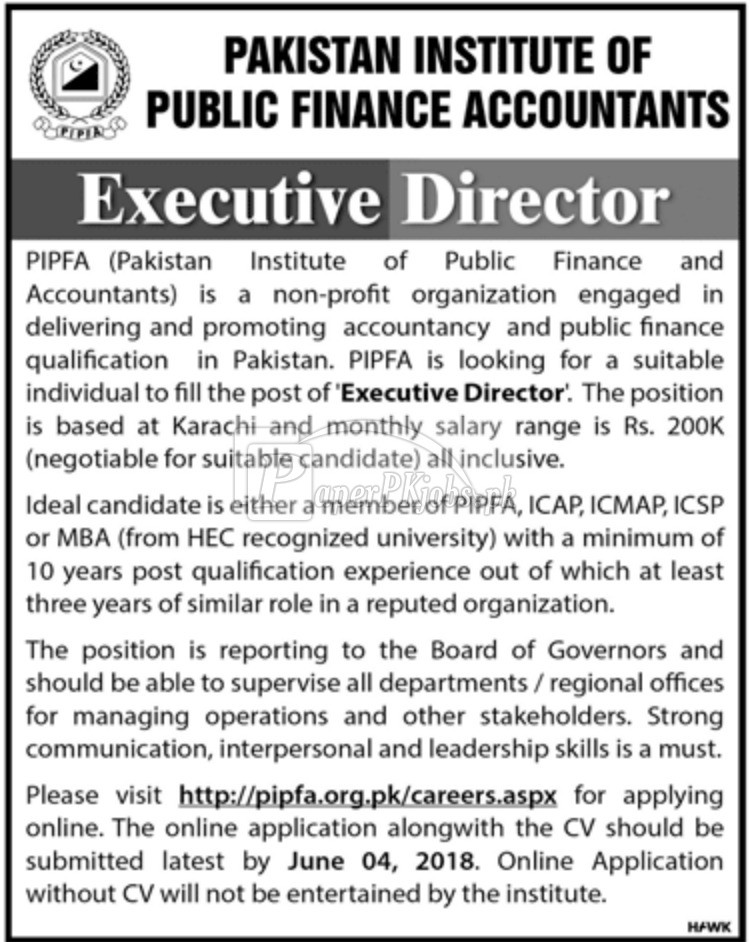 Pakistan Institute of Public Finance Accountants PIPFA Jobs 2018