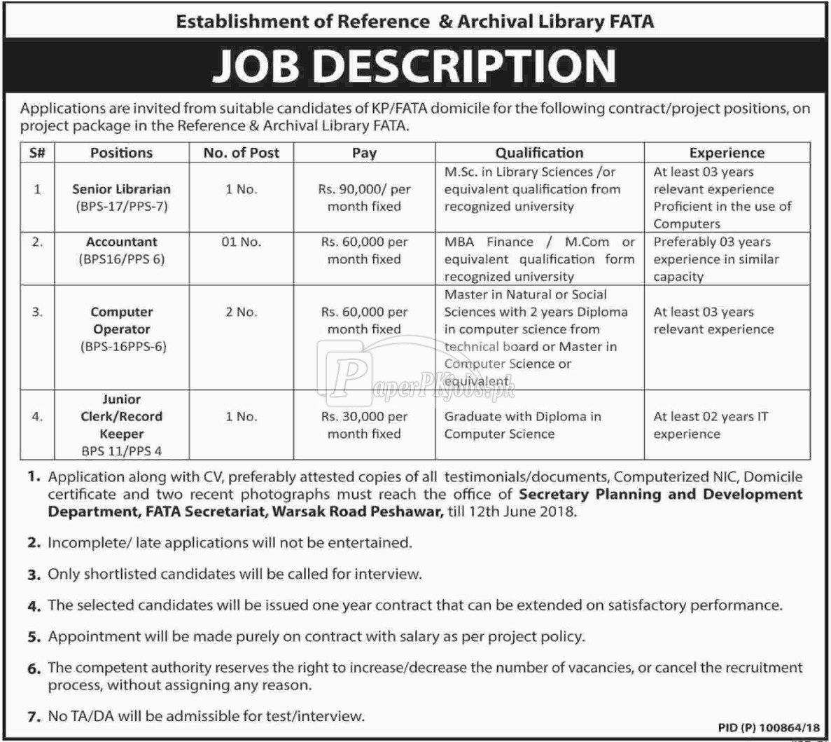 Planning & Development Department Peshawar Jobs 2018