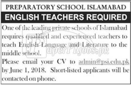 Preparatory School Islamabad Jobs 2018