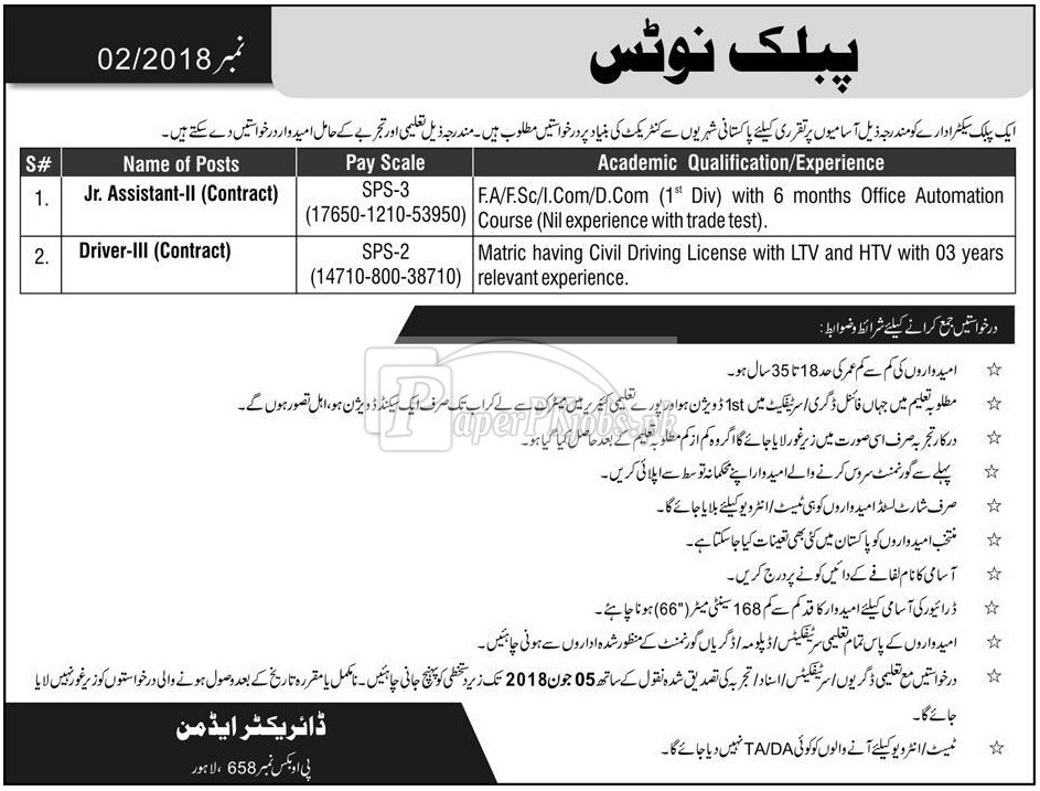 Public Sector Organization P.O.Box 658 Lahore Jobs 2018