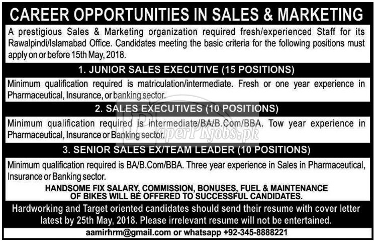 Sales & Marketing Jobs 2018