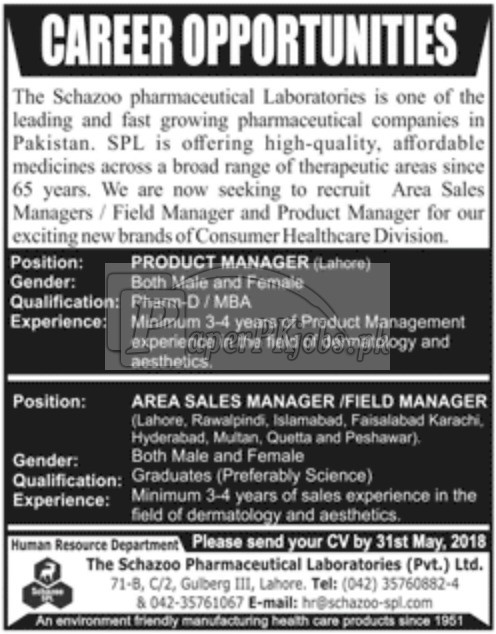 Schazoo Pharmaceutical Laboratories Jobs 2018