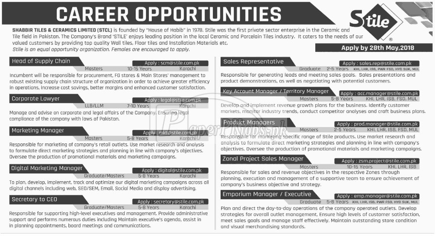 Shabbir Tiles & Ceramics Ltd. Jobs 2018