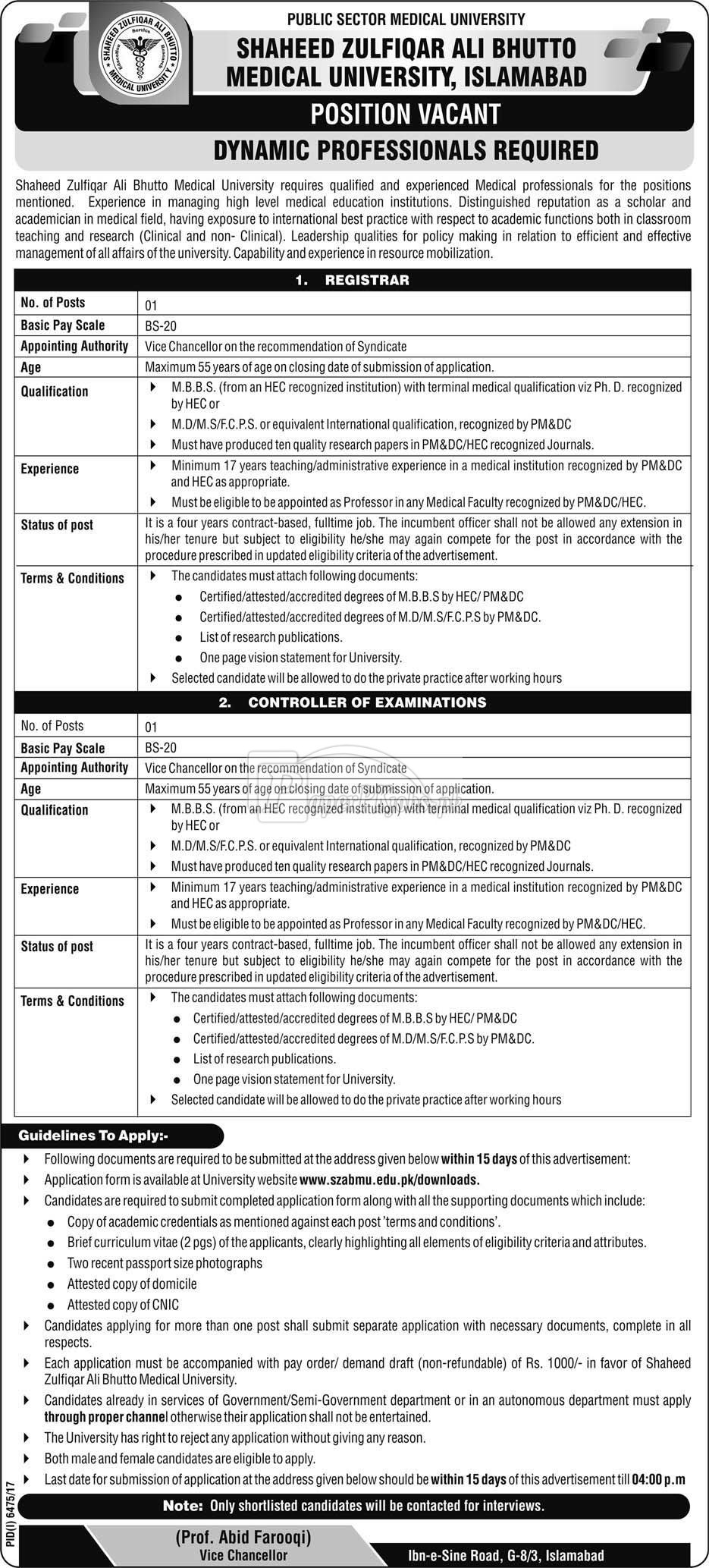 Shaheed Zulfiqar Ali Bhutto Medical University Islamabad Jobs 2018
