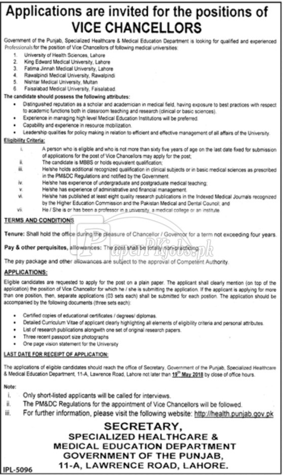 Specialized Healthcare & Medical Education Department Punjab Jobs 2018