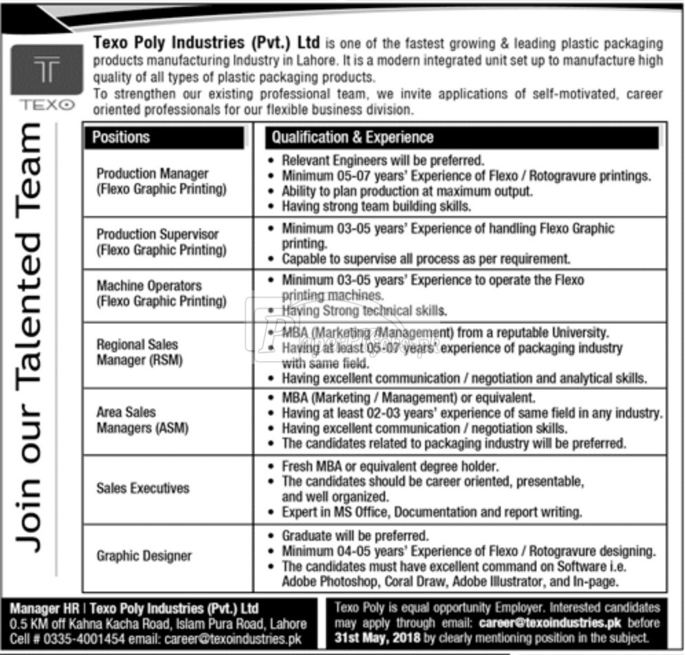 Texo Poly Industries Pvt Ltd Jobs 2018