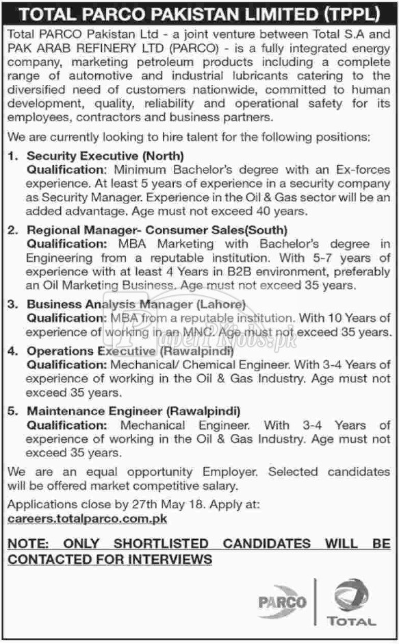 Total PARCO Pakistan Ltd Jobs 2018