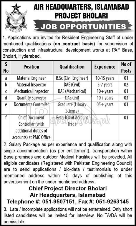 Air Headquarters Islamabad Jobs 2018