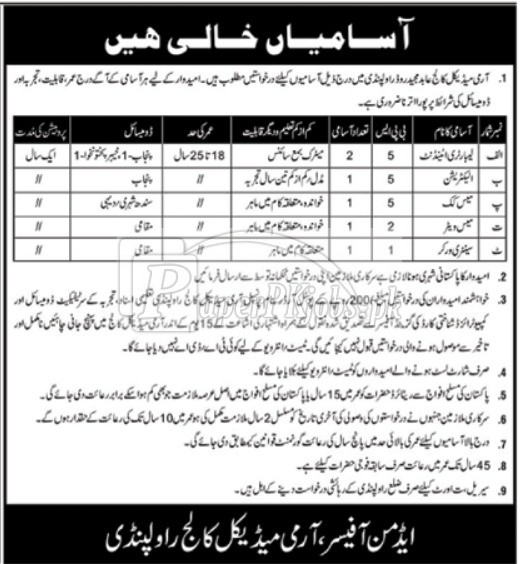 Army Medical College Abid Majeed Road Rawalpindi Jobs 2018