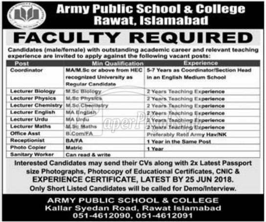 Army Public School & College Rawat Islamabad Jobs 2018