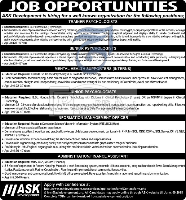 Ask Development Jobs 2018