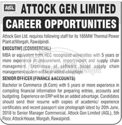 Attock Gen Ltd AGL Jobs 2018