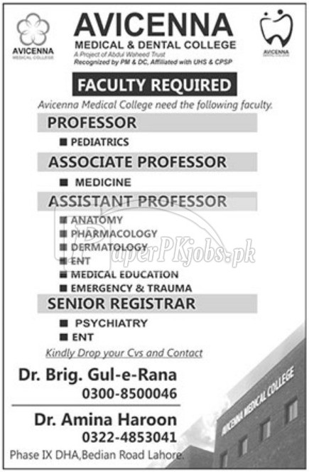 Avicenna Medical & Dental College Lahore Jobs 2018