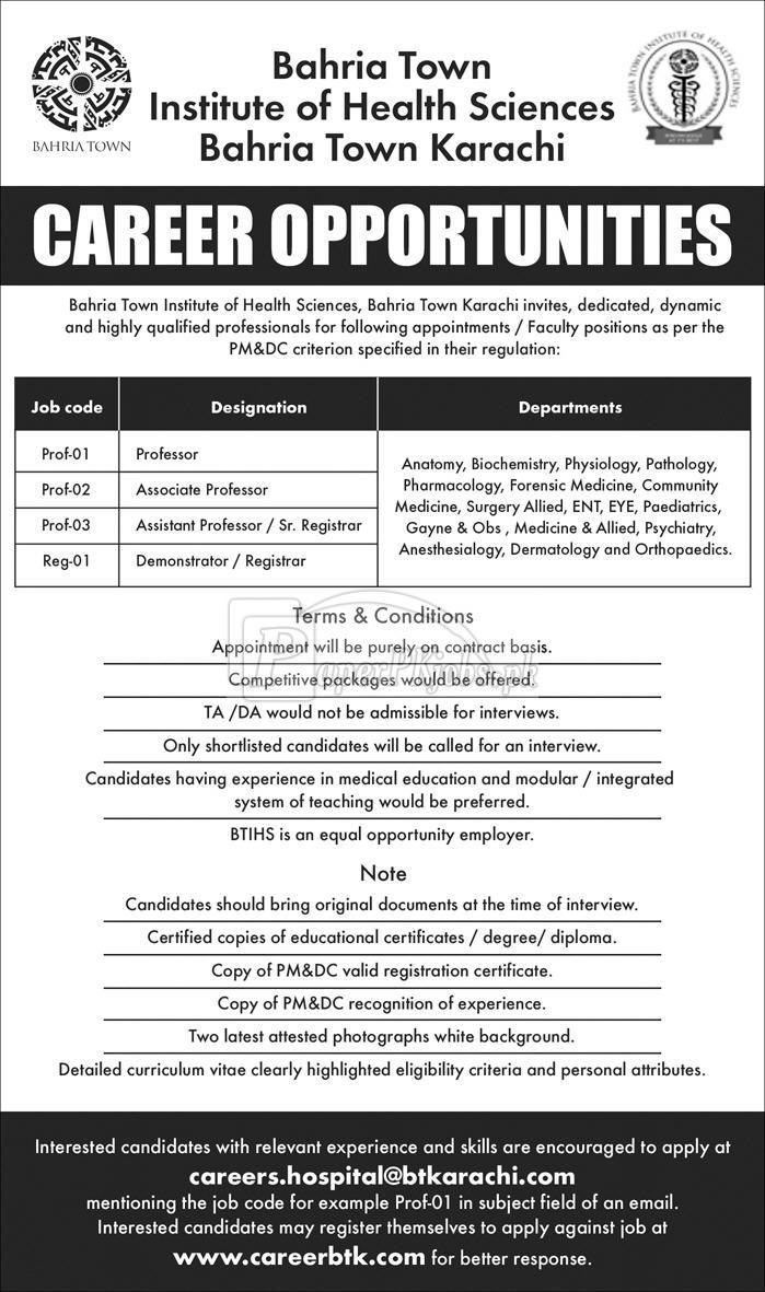 Bahria Town Institute of Health Sciences Bahria Town Karachi Jobs 2018