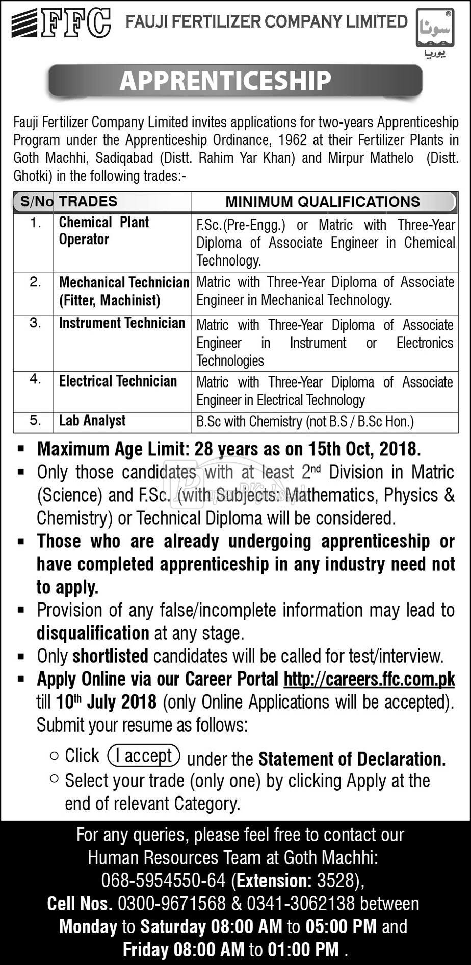 Fauji Fertilizer Company Ltd Apprenticeship 2018