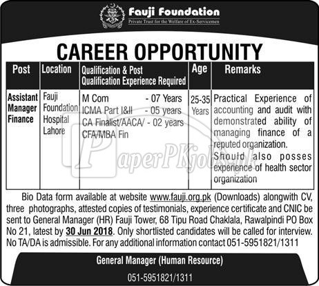 Fauji Foundation Jobs 2018