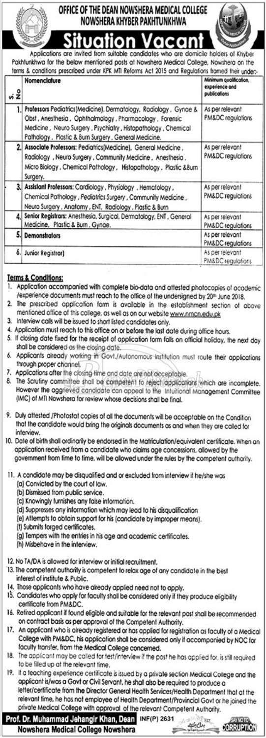 Nowshera Medical College Nowshera Jobs 2018(1)
