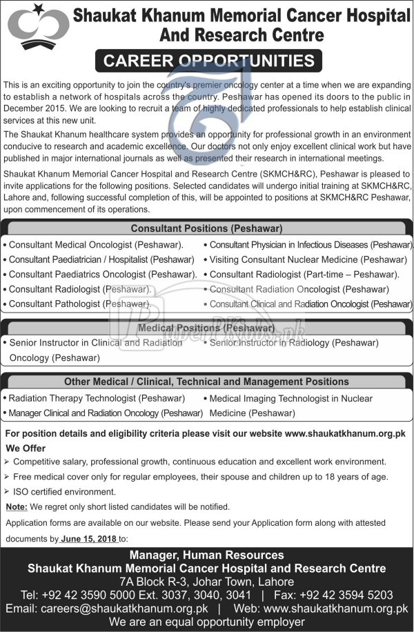 Shaukat Khanum Memorial Cancer Hospital Jobs 2018
