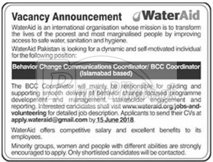WaterAid Jobs 2018