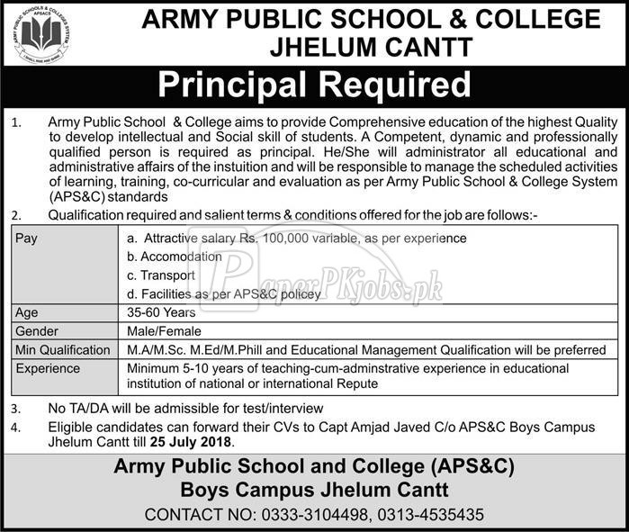Army Public School & College Jhelum Cantt Jobs 2018