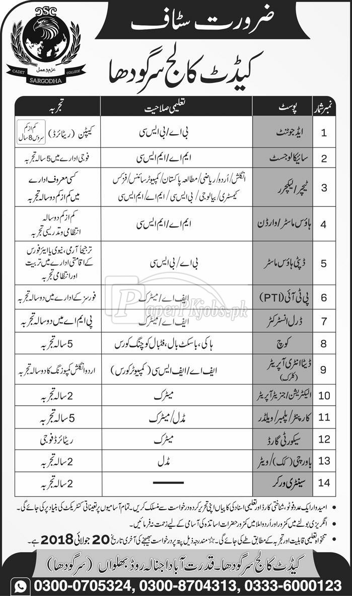 Cadet College Sargodha Jobs 2018