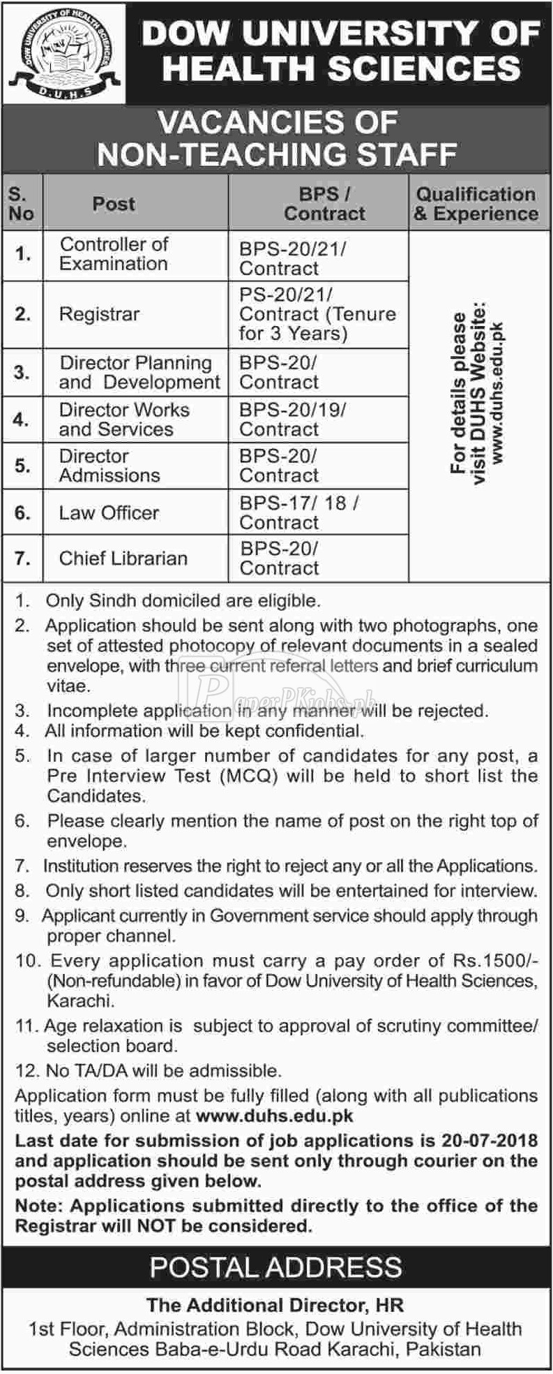 DOW University of Health Sciences DUHS Karachi Jobs 2018