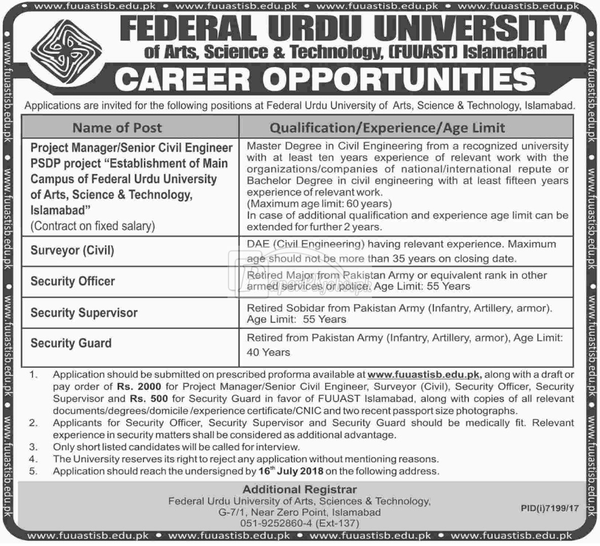 Federal Urdu University FUUAST Islamabad Jobs 2018