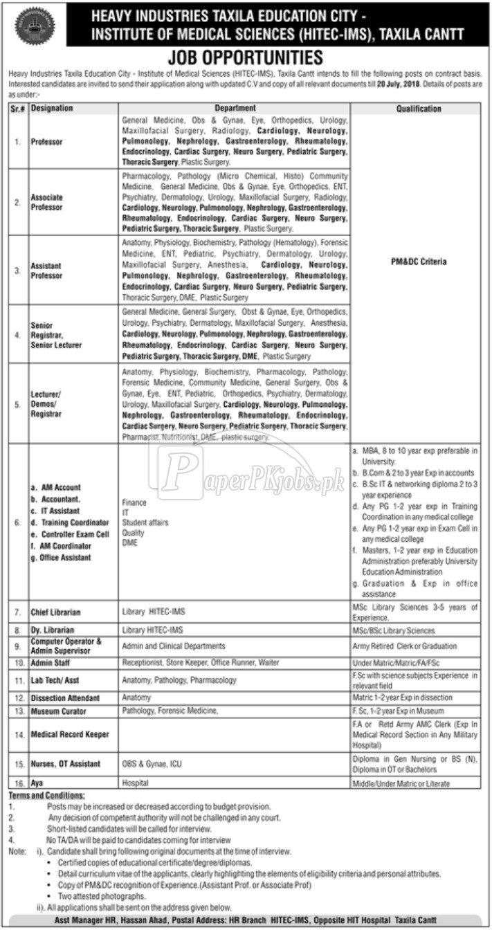 HITEC IMS Taxila Cantt Jobs 2018