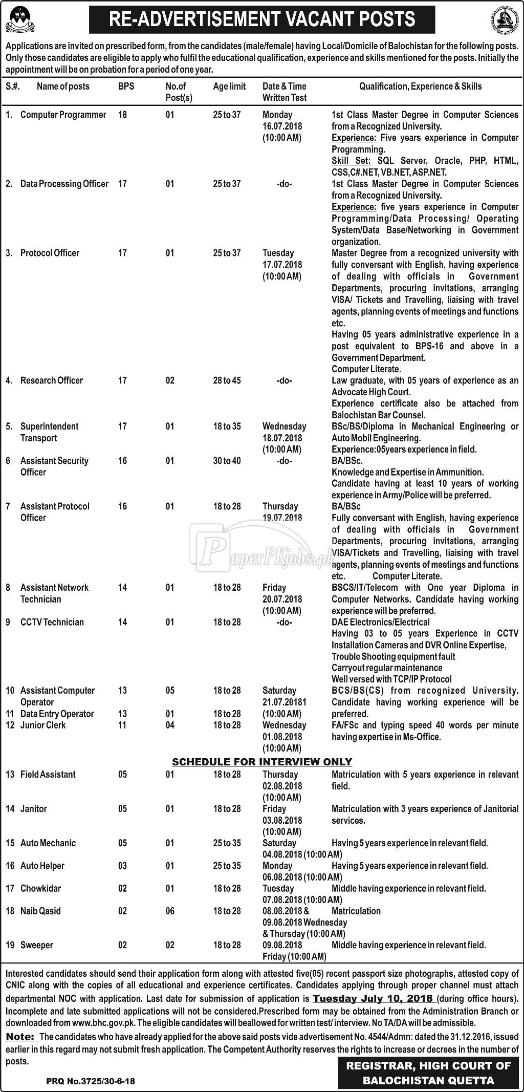 High Court of Balochistan Quetta Jobs 2018