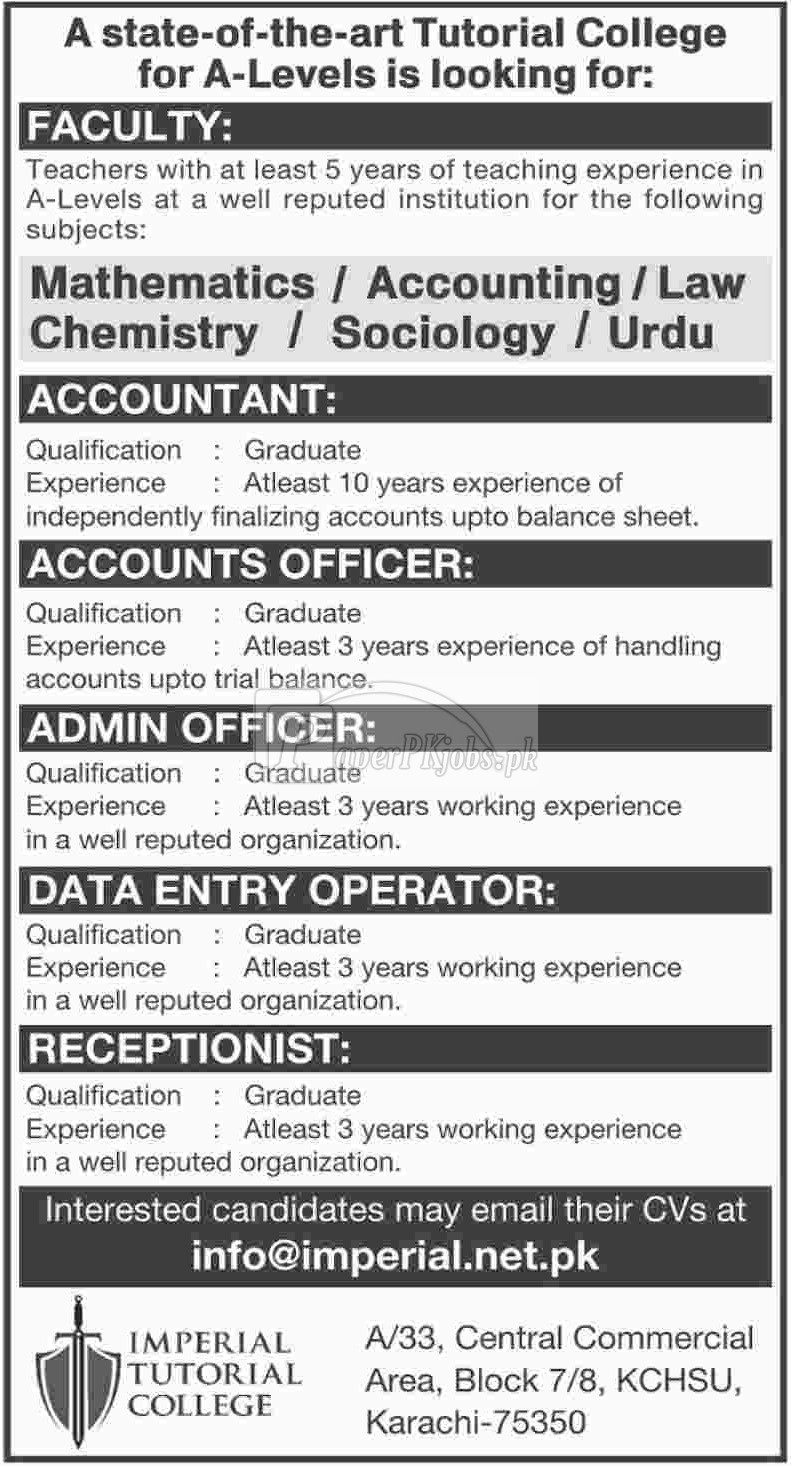 Imperial Tutorial College Jobs 2018