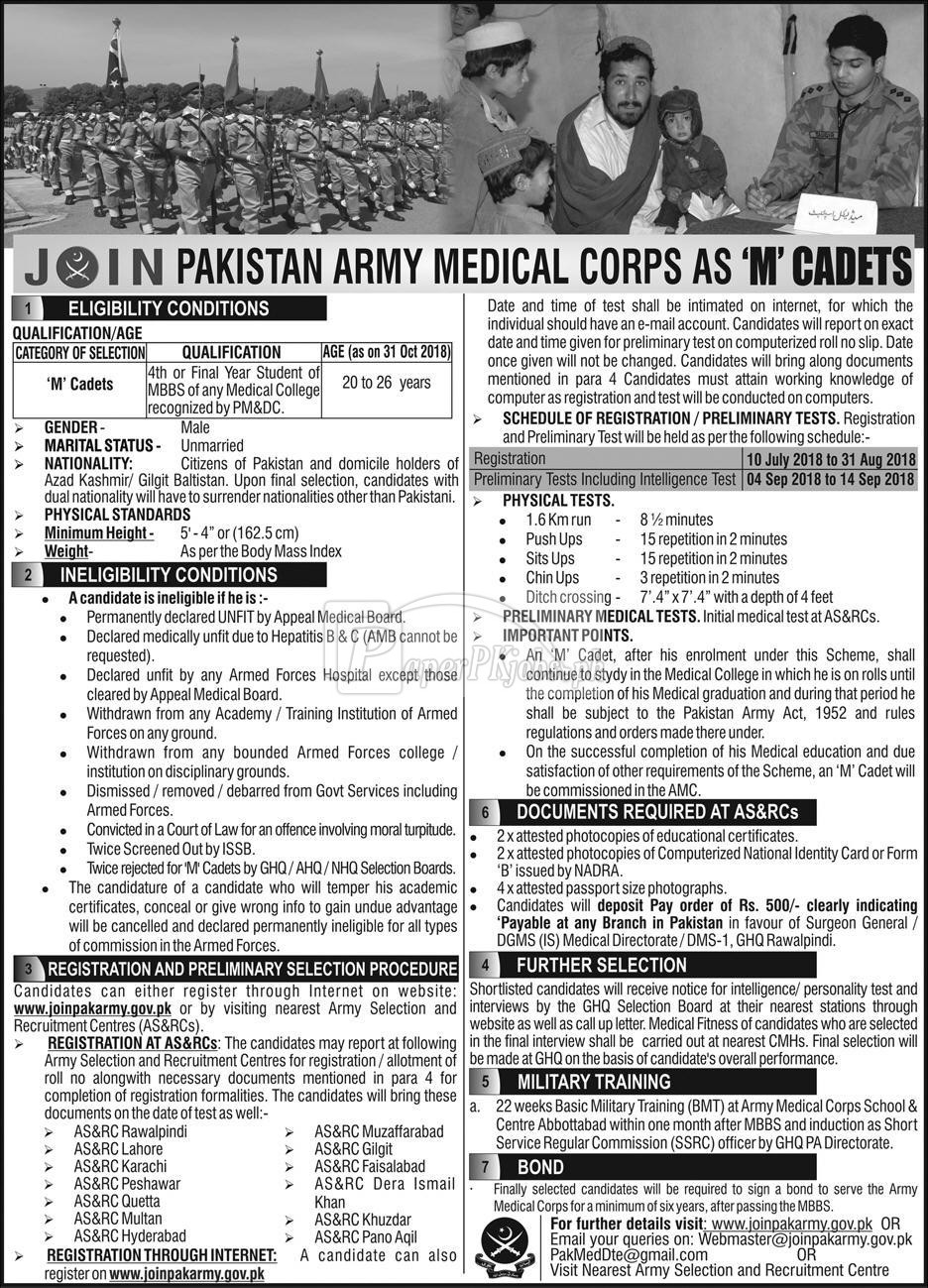Join Pak Army Medical Corps as M Cadets 2018