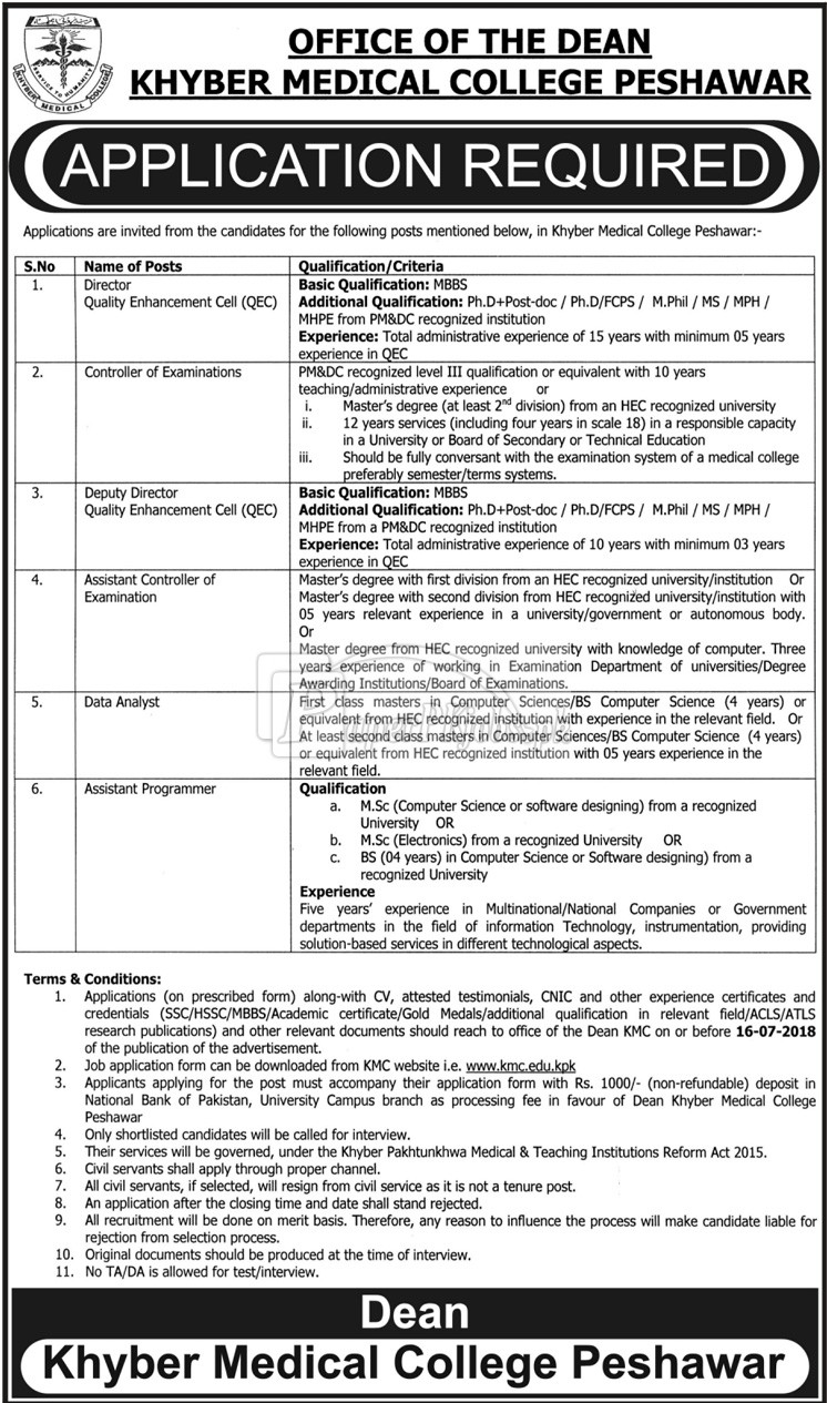 Khyber Medical College KMC Peshawar Jobs 2018