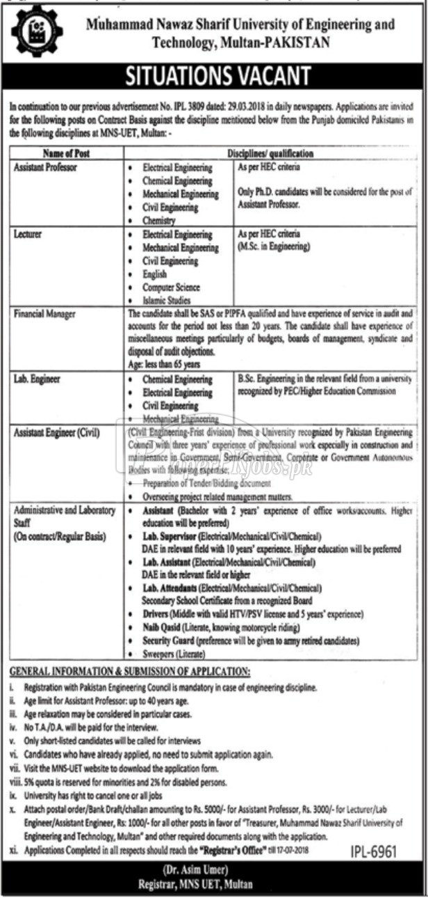 Muhammad Nawaz Sharif University of Engineering & Technology Multan Jobs 2018