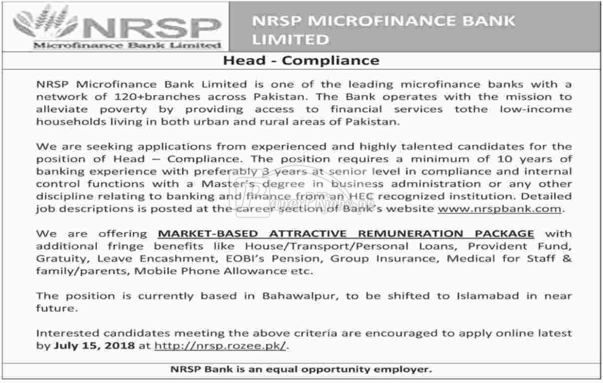 NRSP Microfinance Bank Ltd Jobs 2018