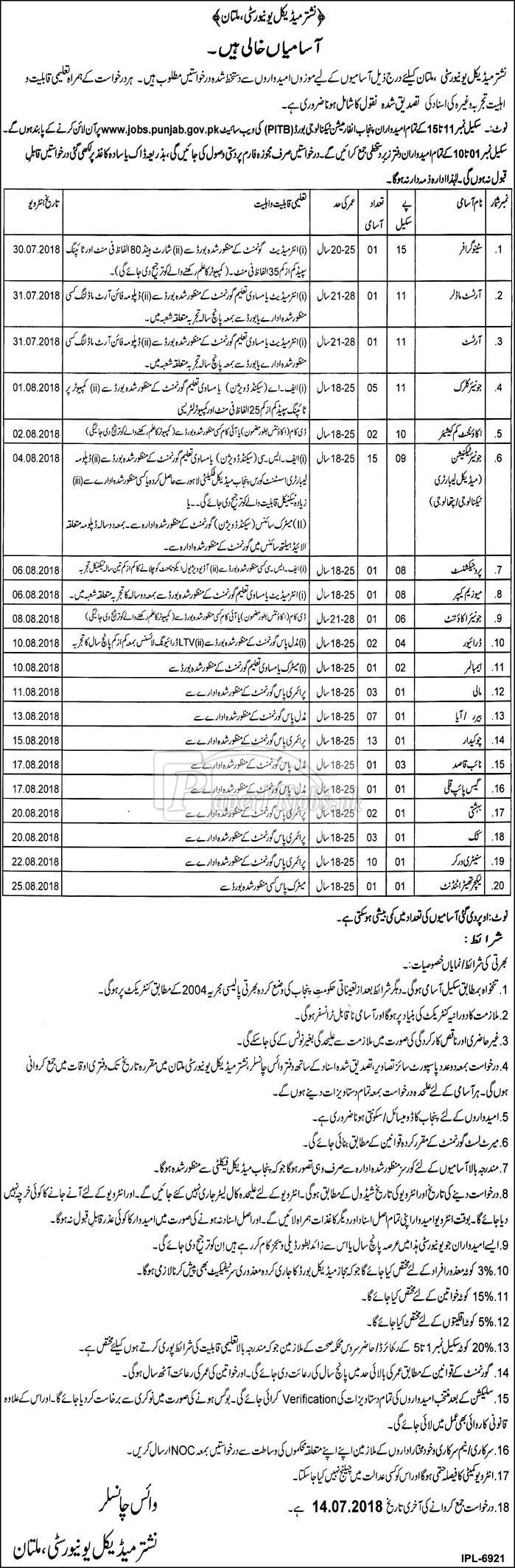 Nisthar Medical University Multan Jobs 2018(1)