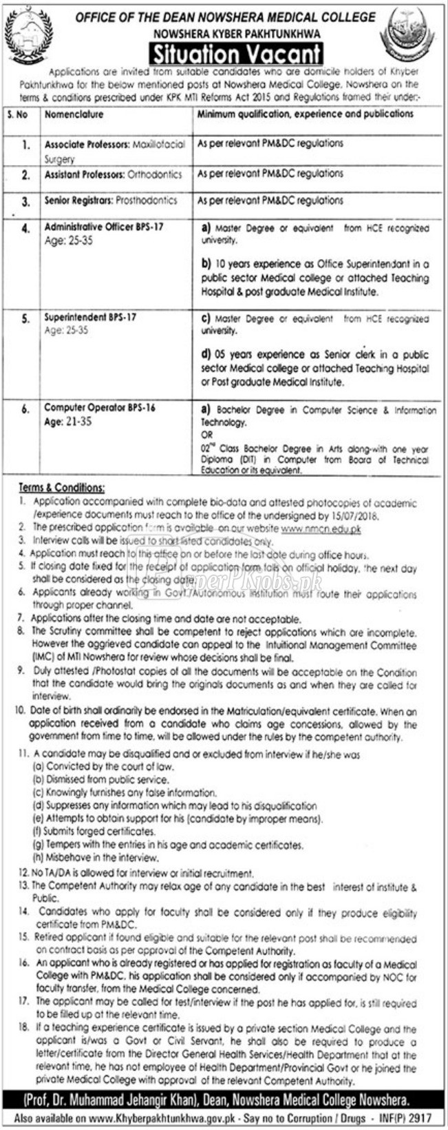 Nowshera Medical College Jobs 2018