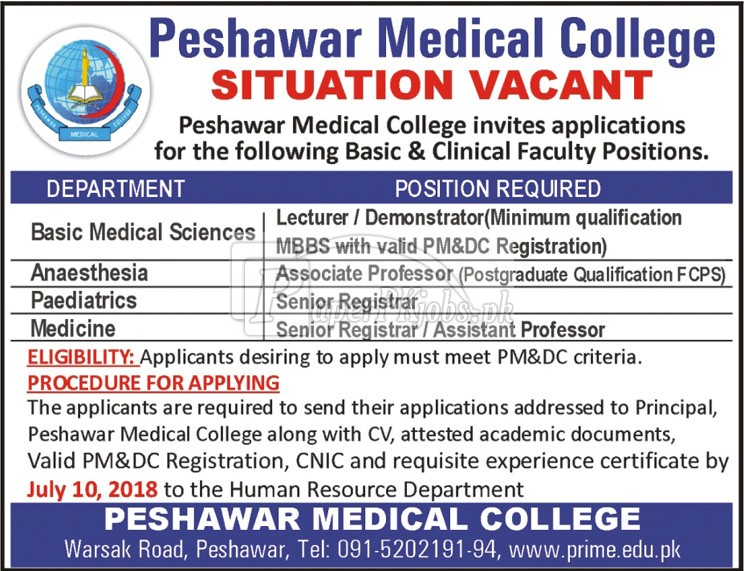 Peshawar Medical College Jobs 2018