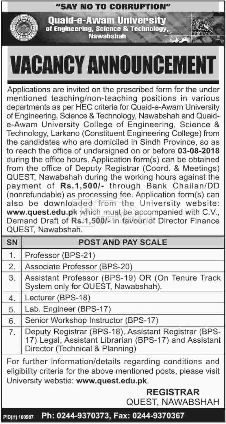 QUEST Nawabshah Jobs 2018