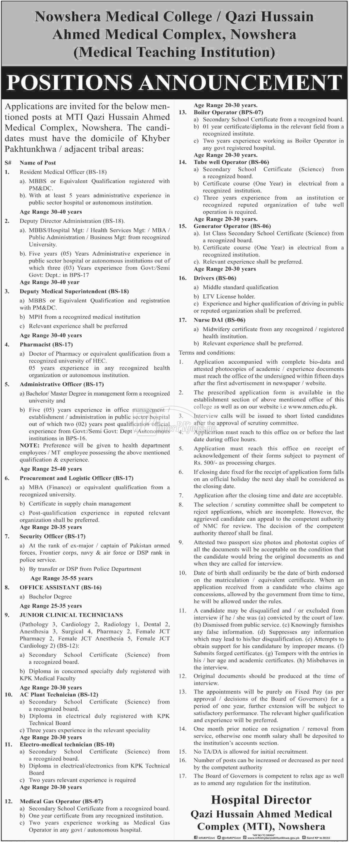 Qazi Hussain Ahmed Medical Complex MTI Nowshera Jobs 2018