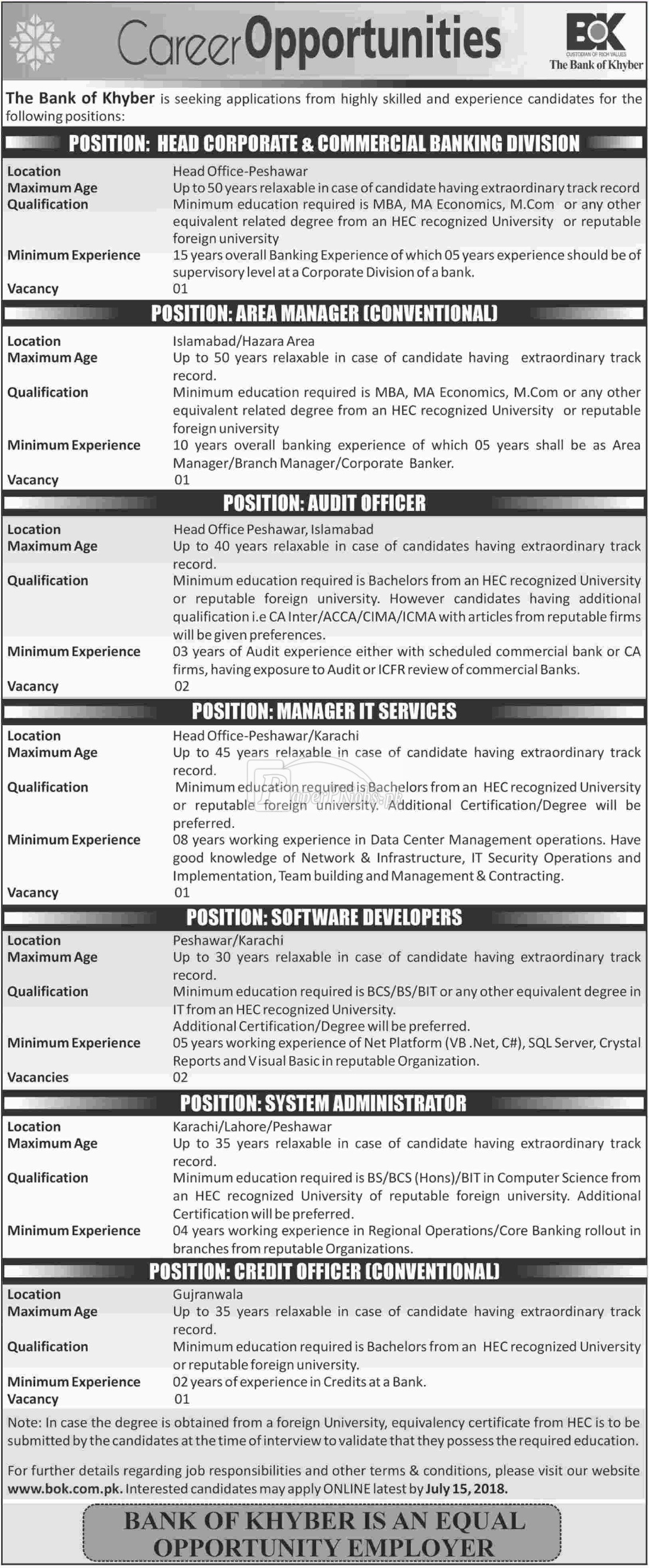 The Bank of Khyber BOK Jobs 2018