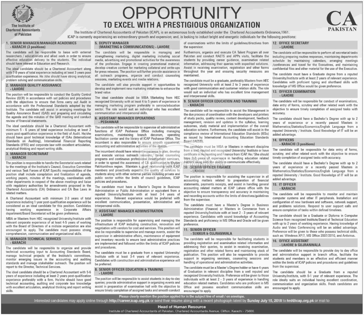 The Institute of Chartered Accountants of Pakistan ICAP Jobs 2018