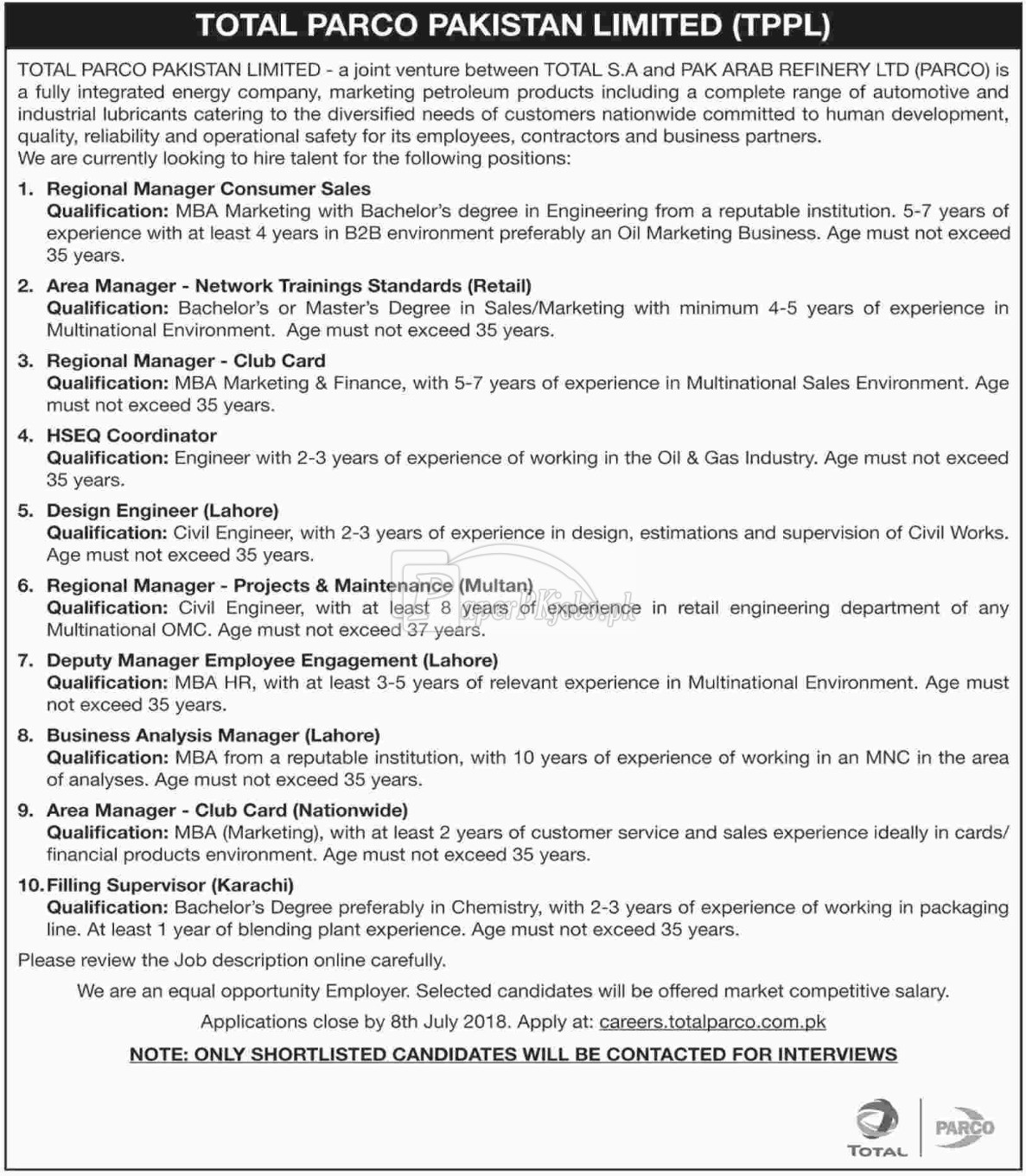 Total Parco Pakistan Ltd TPPL Jobs 2018